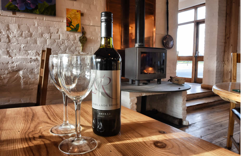 A bottle of wine at Quex Barn